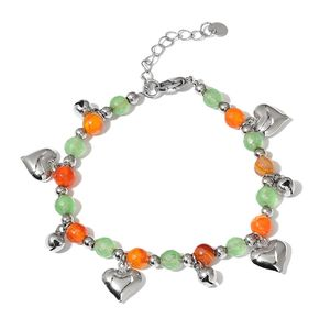 Green Aventurine, Carnelian Stainless Steel Bracelet with Heart Charm (7.00-8.25in) TGW 25.50 cts.