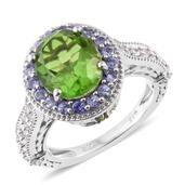Chartreuse Quartz, Multi Gemstone Platinum Over Sterling Silver Ring (Size 10.0) TGW 6.51 cts.