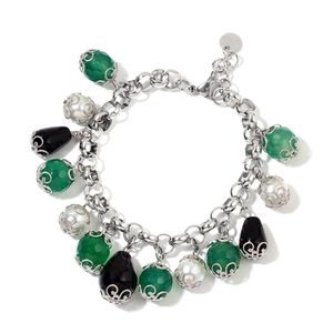 Green Agate, Simulated Pearl, Black Onyx Stainless Steel Drop Charm Bracelet (7-8.5in) TGW 105.00 cts.