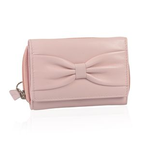 Light Pink 100% Genuine Leather RFID Wallet (4.75x1.5x3.5 in)