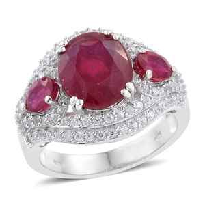Karen's Fabulous Finds Niassa Ruby, Cambodian Zircon Platinum Over Sterling Silver Ring (Size 8.0) TGW 9.72 cts.