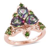 Northern Lights Mystic Topaz, Russian Diopside 14K RG Over Sterling Silver Ring (Size 9.0) TGW 4.63 cts.