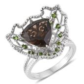 Brazilian Smoky Quartz, Russian Diopside Platinum Over Sterling Silver Split Ring (Size 6.0) TGW 5.65 cts.