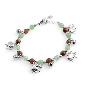 Brazilian Aventurine, South African Tigers Eye Stainless Steel Bracelet with Charm (7.50 In) TGW 25.50 cts.