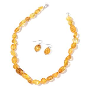 Enhanced Yellow Natural Crystal Silvertone Earrings and Necklace (18 in)