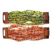 Orange and Green Glass Beads Set of 2 Bracelets with Wooden Lock (Stretchable)