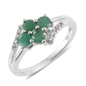 Kagem Zambian Emerald, White Topaz Platinum Over Sterling Silver Split Ring (Size 8.0) TGW 1.34 cts.