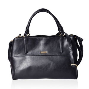 Black Faux Leather Triple Compartment Shoulder Bag with Removable Strap (14x5.5x9 in)