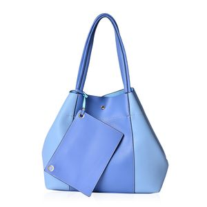 Light and Dark Blue Faux Leather Set of 2 Handbag (17.2x13x6x11.6 in)