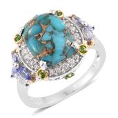 Mojave Blue Turquoise, Multi Gemstone 14K YG and Platinum Over Sterling Silver Ring (Size 6.0) TGW 7.32 cts.