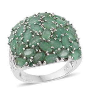 Kagem Zambian Emerald Platinum Over Sterling Silver Cluster Ring (Size 8.0) TGW 7.15 cts.