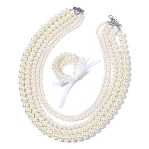 TLV Simulated White Pearl Silvertone Set of 5 Bracelets (Stretchable) and Multi Strand Drape Necklace (20.00 In)