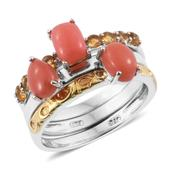 Oregon Peach Opal, Brazilian Citrine 14K YG and Platinum Over Sterling Silver Stackable Rings (Size 5.0) TGW 2.39 cts.