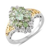 Merelani Mint Garnet, Cambodian Zircon 14K YG and Platinum Over Sterling Silver Ring (Size 5.0) TGW 1.62 cts.