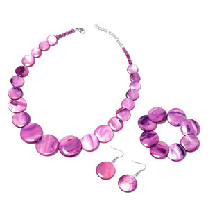 Purple Shell Stainless Steel Bracelet (Stretchable), Earrings and Necklace (20.00 In)