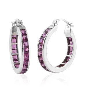 Mahenge Umbalite Platinum Over Sterling Silver Hoop Earrings TGW 6.48 cts.