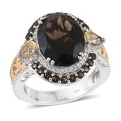 Brazilian Smoky Quartz, Multi Gemstone 14K YG and Platinum Over Sterling Silver Ring (Size 10.0) TGW 10.59 cts.
