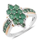 Kagem Zambian Emerald 14K YG and Platinum Over Sterling Silver Ring (Size 7.0) TGW 2.34 cts.