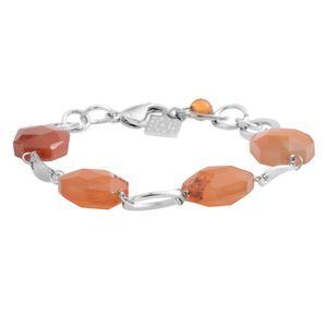 Carnelian Silvertone Bracelet (7-8in) TGW 48.50 cts.