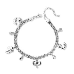 Kevin's Presidential Deal Stainless Steel Love for Animals Bell Charm Anklet (9 in)