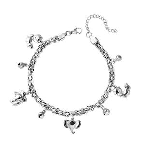Stainless Steel Love for Animals Bell Charm Anklet (9 in)