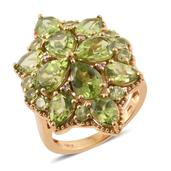 Hebei Peridot, Madagascar Pink Sapphire 14K YG Over Sterling Silver Ring (Size 5.0) TGW 9.98 cts.