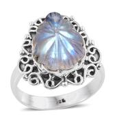 Artisan Crafted Sri Lankan Rainbow Moonstone Sterling Silver Carved Ring (Size 9.0) TGW 8.56 cts.
