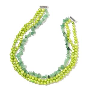 Freshwater Green Pearl, Green Aventurine Chips Silvertone Triple Strand Necklace (18 in) TGW 80.00 cts.