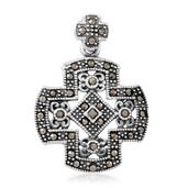 Swiss Marcasite Sterling Silver Cross Pendant without Chain TGW 0.40 cts.