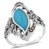 Mojave Stabily Turquoise, Swiss Marcasite Sterling Silver Ring (Size 11.0) TGW 1.56 cts.