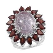 Galilea Rose Quartz Carved, Mozambique Garnet, Cambodian Zircon Platinum Over Sterling Silver Ring (Size 7.0) TGW 22.32 cts.