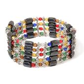Multi Wear Hematite, Multi Color Glass Silvertone Magnetic Wrap Bracelet, Lariat Necklace, Choker, Scarf Necklace, or Wrap Anklet (36.00 In) TGW 150.00 cts.