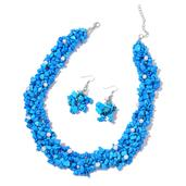 Blue Howlite, Freshwater Pearl Stainless Steel Earrings and Necklace (18 in) TGW 676.00 cts.