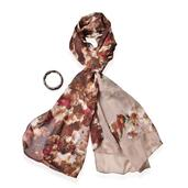 Brown 100% Polyester Scarf (68x28in) and South African Tigers Eye Bracelet (Stretchable) TGW 235.00 cts.
