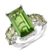Chartreuse Quartz, Hebei Peridot Platinum Over Sterling Silver Ring (Size 7.0) TGW 14.75 cts.