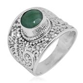 Bali Legacy Collection Brazilian Emerald Sterling Silver Engraved Solitaire Ring (Size 10.0) TGW 2.05 cts.
