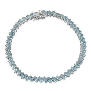 Nitin's Knockdown Deals Madagascar Paraiba Apatite Platinum Over Sterling Silver Bracelet (8.00 In) TGW 11.44 cts.