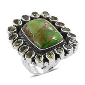 Artisan Crafted Mojave Green Turquoise, Hebei Peridot Sterling Silver Ring (Size 10.0) TGW 17.54 cts.