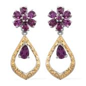 Mahenge Umbalite 14K YG and Platinum Over Sterling Silver Earrings TGW 3.80 cts.