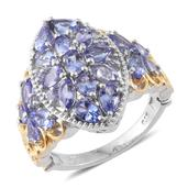 Tanzanite 14K YG and Platinum Over Sterling Silver Ring (Size 6.0) TGW 3.59 cts.