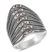 Swiss Marcasite Black Oxidized Stainless Steel Ring (Size 8.0) TGW 1.40 cts.
