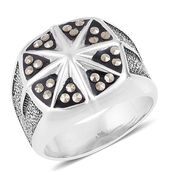 Swiss Marcasite Stainless Steel Men's Signet Ring (Size 13.0) TGW 0.48 cts.
