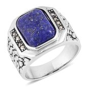Lapis Lazuli, Swiss Marcasite Stainless Steel Ring (Size 11.0) TGW 5.16 cts.