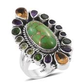 Artisan Crafted Mojave Green Turquoise, Multi Gemstone Sterling Silver Elongated Ring (Size 10.0) TGW 15.77 cts.