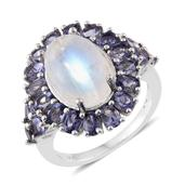 Sri Lankan Rainbow Moonstone, Catalina Iolite Platinum Over Sterling Silver Ring (Size 6.0) TGW 10.31 cts.