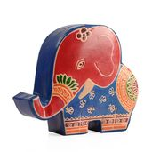 Elephant Shape Hand-painted Genuine Leather Money Bank (6.1x5.51x1.57 in)
