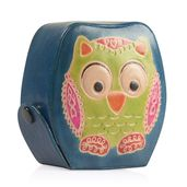 Handpainted Genuine Leather Owl Money Bank with Button Opening (3x1.5x3 in)