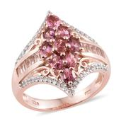 Morro Redondo Pink Tourmaline, White Topaz, Cambodian Zircon 14K RG Over Sterling Silver Ring (Size 5.0) TGW 2.35 cts.