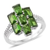 Russian Diopside, Cambodian Zircon Platinum Over Sterling Silver Split Ring (Size 6.0) TGW 4.56 cts.