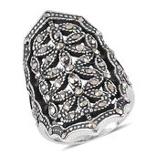 Swiss Marcasite Stainless Steel Elongated Openwork Ring (Size 7.0) TGW 0.45 cts.